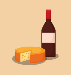 wine bottle with cheese vector image