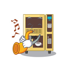 With trumpet coffee vending machine in a karakter vector