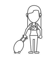 woman tourist with camera and suitcase thin line vector image