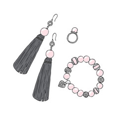 Women jewelry earrings ring and bracelet vector