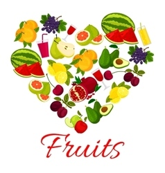 Fruit heart icon with fresh fruits icons vector image