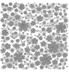 Gray pattern with lined and colored flowers vector