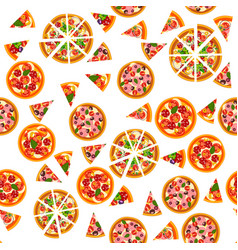 pizza seamless pattern different pizza background vector image vector image