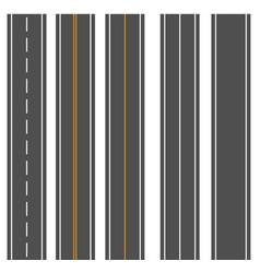 template set of straight asphalt roads vector image