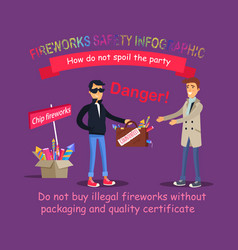 fireworks safety infographic buying illegal thing vector image vector image
