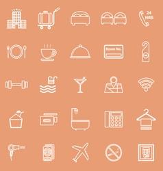 Hotel line icons on orange background vector image vector image