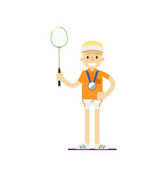 smiling tennis player with racket vector image vector image