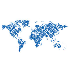 Abstract map of the world - blue lines vector