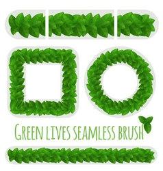 Green leaves fresh border pattern brush vector image vector image