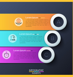 modern infographic design template with 3 vector image vector image