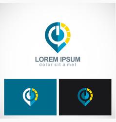 power buton technology logo vector image