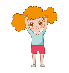 pretty girl with hands up and casual wear vector image