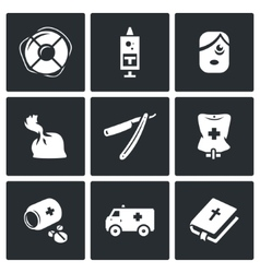 Set of drug overdose icons help dose vector