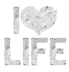 word i love life for coloring decorative vector image