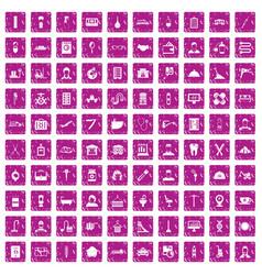 100 craft icons set grunge pink vector