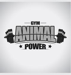 Barbell sport t-shirt gym emblem vector