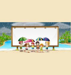 Board template with kids in the rain vector
