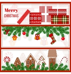 Christmas time set in stripes vector image vector image
