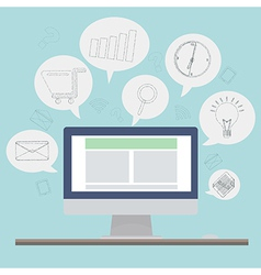computer with sketch application icon vector image