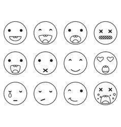 Outline round smile emoji set Emoticon icon vector image