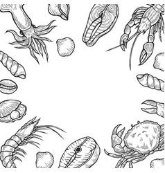 seafood background menu vector image vector image