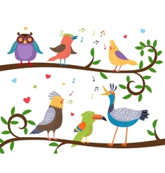 Singing birds on tree branches vector image