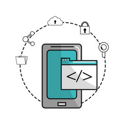 Smartphone with document data and icons service vector