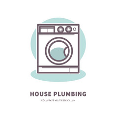 washing machine icon house plumbing equipment logo vector image vector image