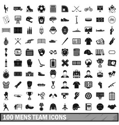 100 mens team icons set simple style vector