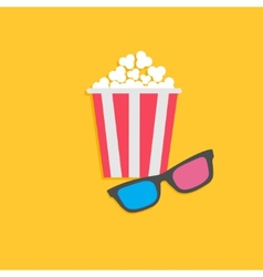3D glasses and popcorn Cinema icon in flat dsign vector image