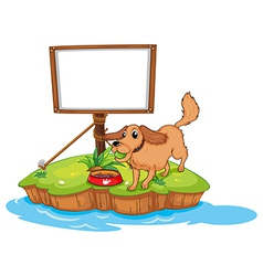 A dog near an empty board vector image