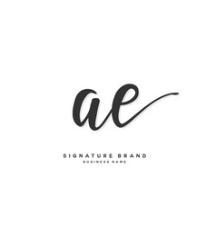A e ae initial letter handwriting and signature vector