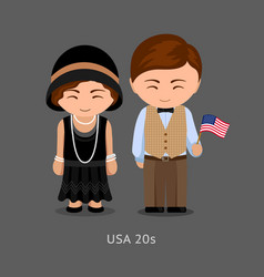 Americans in national dress with a flag vector