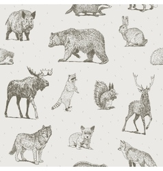 Animals drawings seamless pattern vector