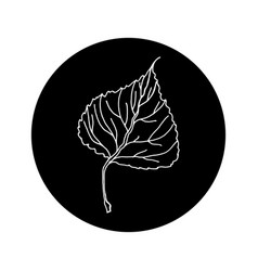 Aspen leaf editable icon in black rounded shape vector