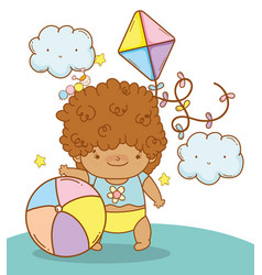 Baby boy with kawaii clouds and toys vector