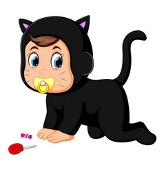 baby in cat costume vector image