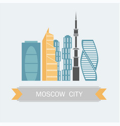 banner of moscow city in flat line trendy style vector image