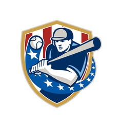 Baseball Hitter Batting Stars Stripes Retro vector