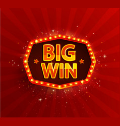 Big win retro banner with glowing lamps vector