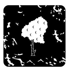 Birch tree icon grunge style vector image