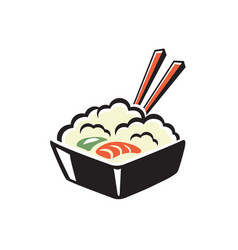 Bowl rice with shrimp and chopsticks vector