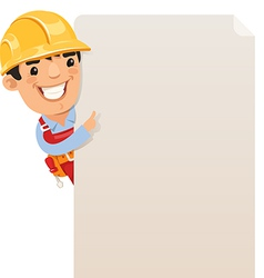Builder looking at blank poster vector