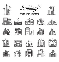 Building icons set city headquarters and vector