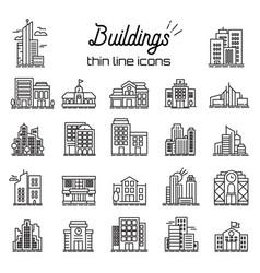 Building icons set city headquarters vector