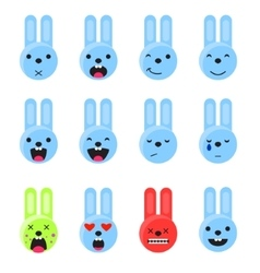 Bunny smile emoji set Emoticon icon flat style vector