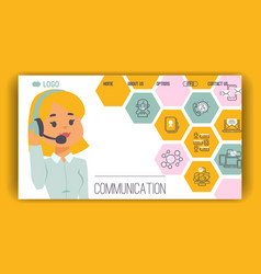 Call center pattern web page people vector