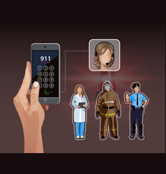calling 911 vector image