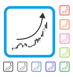 candlestick chart growth trend framed icon vector image