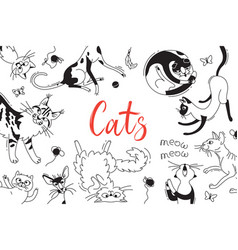 Card with playing cats of different breeds cat in vector